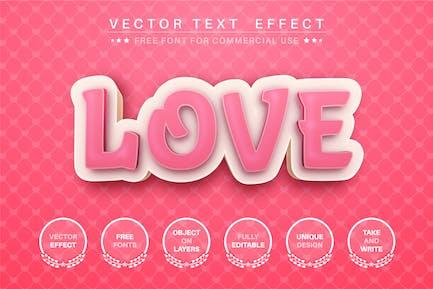 3D Love - editable text effect, font style