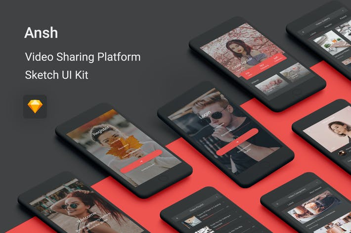Thumbnail for Ansh - Video Sharing Platform Sketch UI Kit