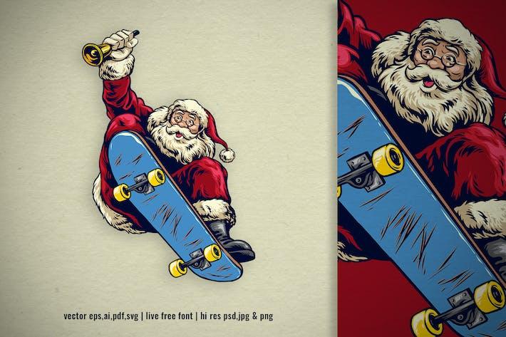 Thumbnail for hand drawing of santa claus ride skateboard