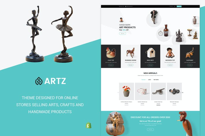 Thumbnail for Artz | Art, Photography Shopify Theme