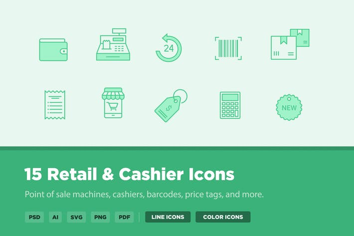Cover Image For 15 Retail & Cashier Icons