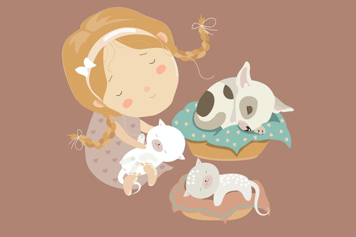 Thumbnail for Cute girl with funny kittens and puppy. Vector