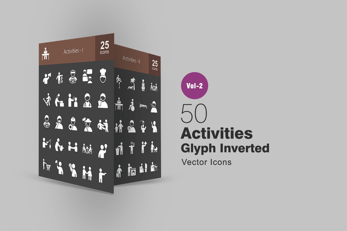 Thumbnail for 50 Activities Glyph Inverted Icons