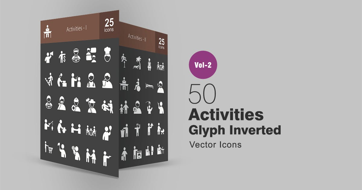 Download 50 Activities Glyph Inverted Icons by IconBunny