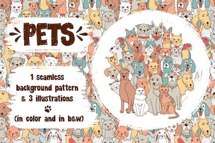 Mascotas - Ilustraciones Animales Y Patrón Sin Costuras