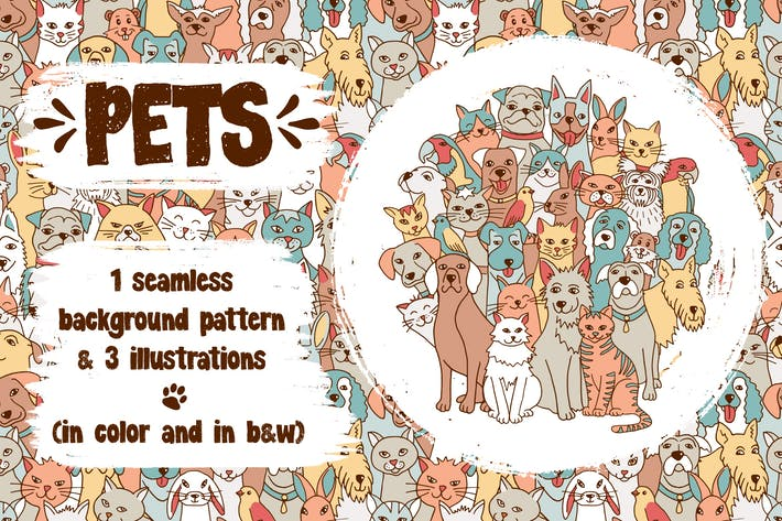 Thumbnail for Pets - Animal Illustrations And Seamless Pattern