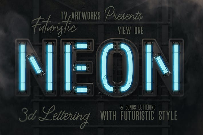 Thumbnail for Futuristic Neon 3D Lettering View 1