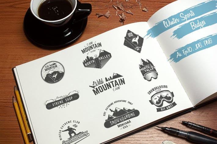 Thumbnail for Winter Sports Logo & Retro Camping Badges Set