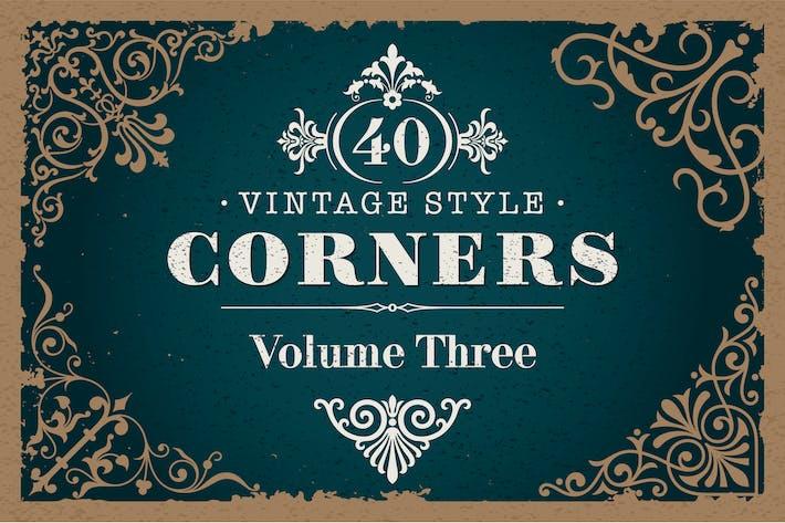 40 Vektor Vintage-Stil Ecken Set