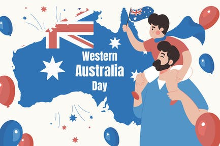 Western Australia Day - Flat Illustration