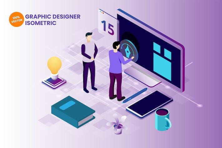 Thumbnail for Isometric Graphic Designer Vector Illustration