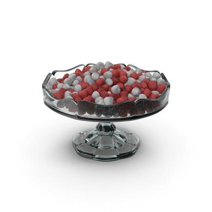 Ausgefallene Glasschale mit zuckerbeschichtetem, konischem Gummiband