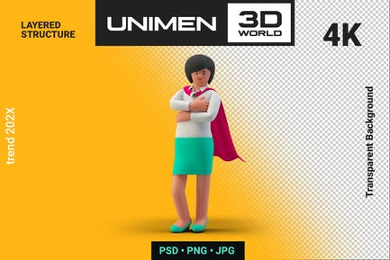 Super Woman Hero Cloak Businesswoman 3D Standing
