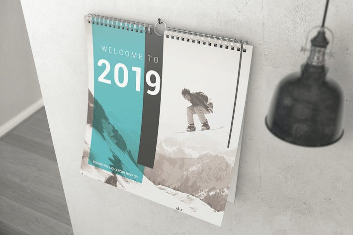 Thumbnail for Square Wall Calendar Mockups