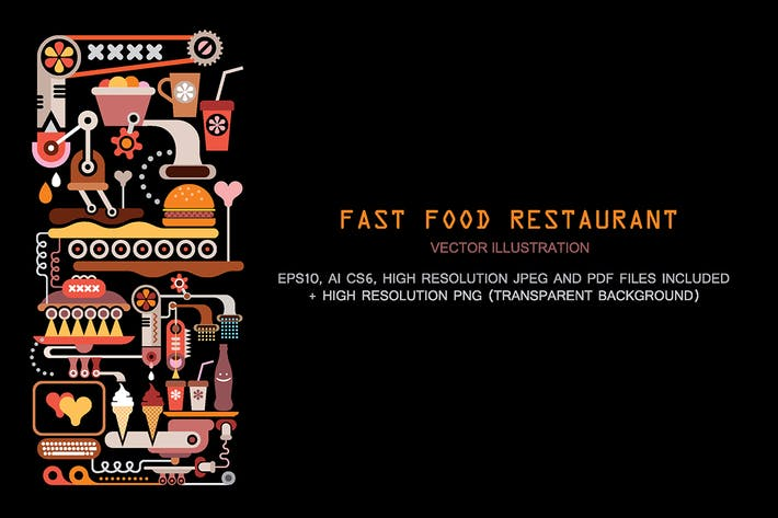 Thumbnail for Fast Food Restaurant Kitchen vector illustration
