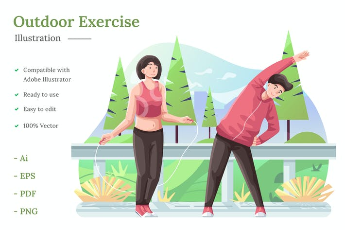 Outdoor Exercise Illustration