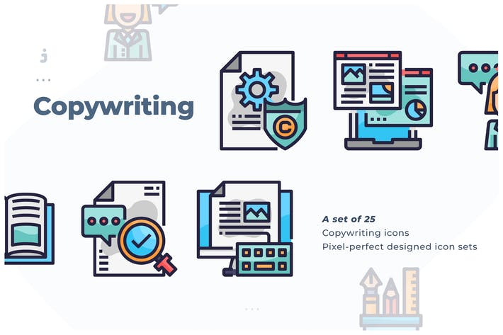 Thumbnail for 25 Copywriting Icon set