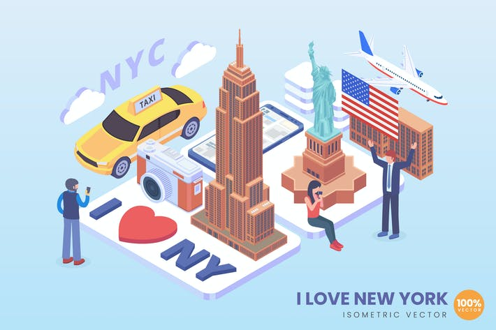 Thumbnail for Isometric I Love New York Vector Concept