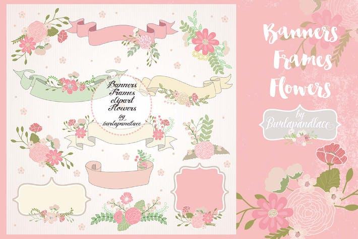 Thumbnail for Banner, frame, flower clip art