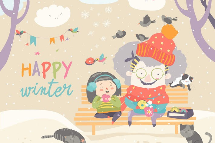 Thumbnail for Grandma and granddaughter eating donuts in winter