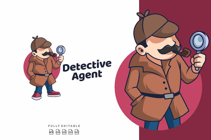 Thumbnail for Detective Agent Mascot Retro