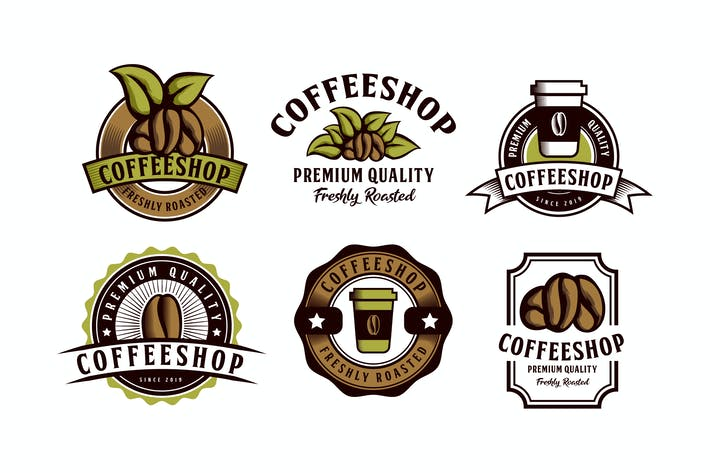 Thumbnail for Set of Coffee Themed Emblem Logo Badge