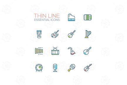 Musical Instruments - Thin Single Line Icons Set