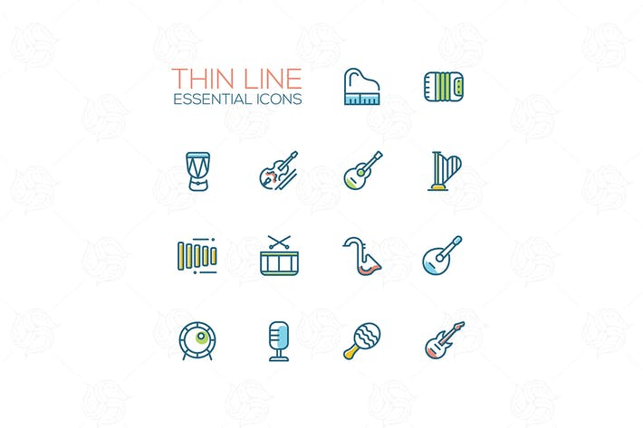 Thumbnail for Musical Instruments - Thin Single Line Icons Set