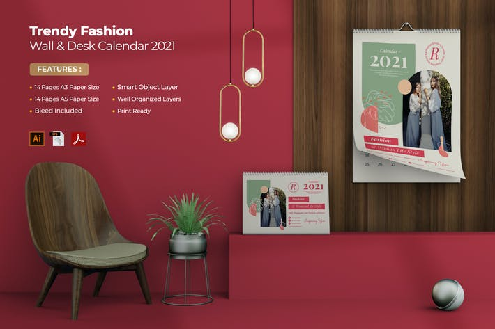 Thumbnail for Trendy Fashion Wall & Desk Calendar 2021