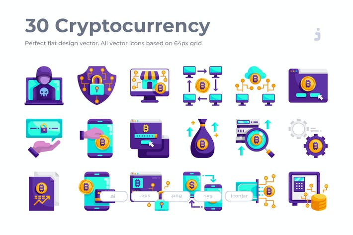 Thumbnail for 30 Cryptocurrency Icons - Flat