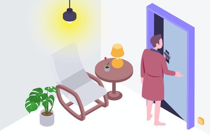 Thumbnail for Smart Door Isometric Illustration