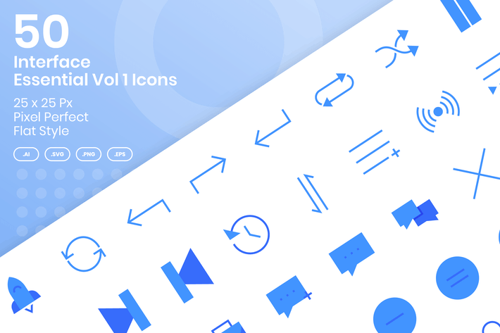 Thumbnail for 50 Interface Essential Icons Vol 1 - Flat