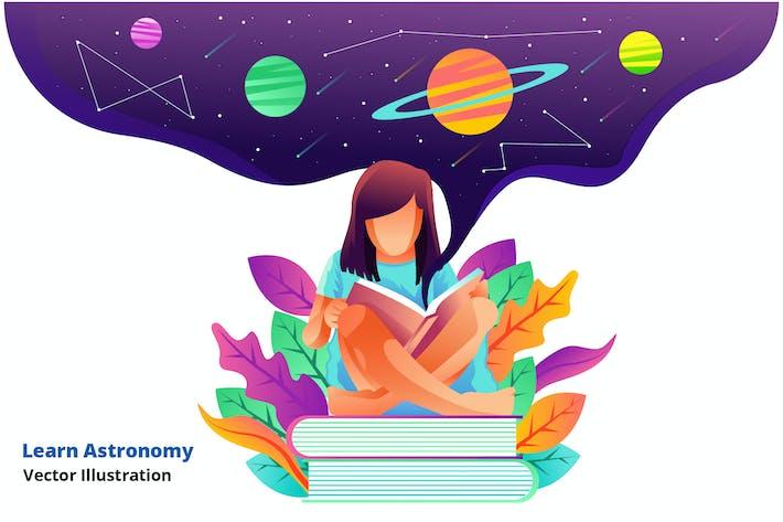 lernen Astronomie - Vektor Illustration