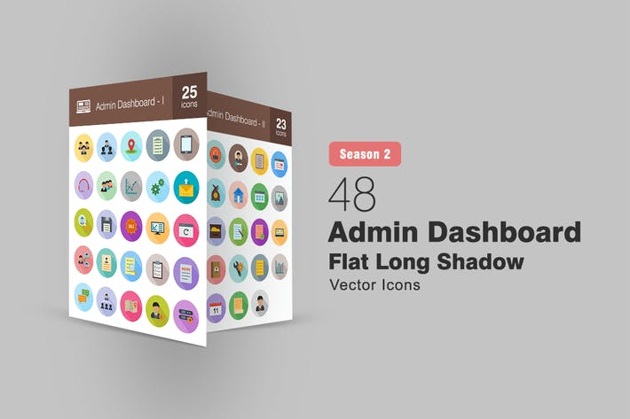 Thumbnail for 48 Admin Dashboard Flache lange Schatten Icons