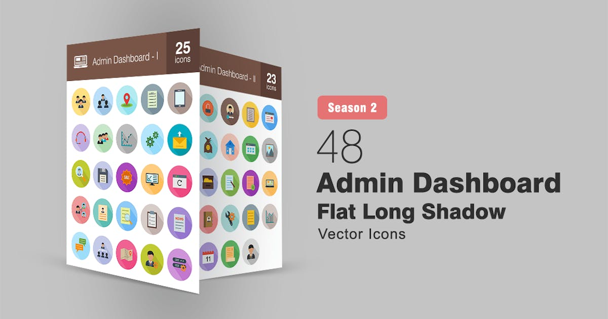 Download 48 Admin Dashboard Flat Long Shadow Icons by IconBunny