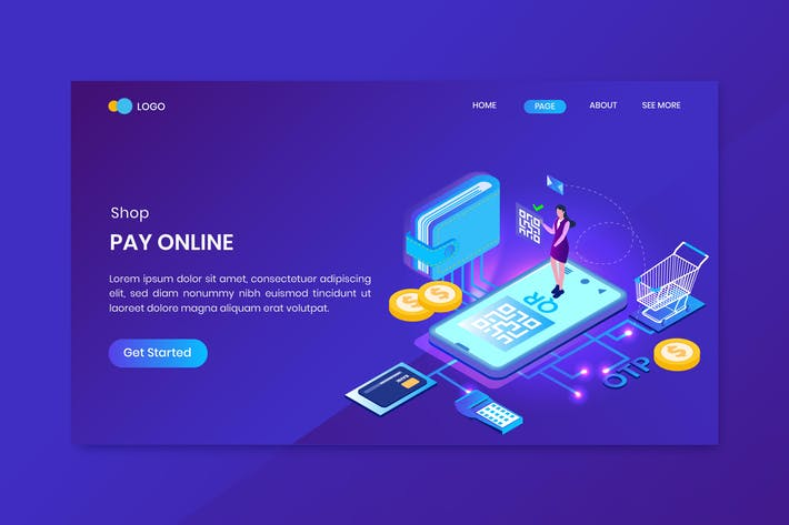 Thumbnail for Pay Online Isometric Concept Landing Page