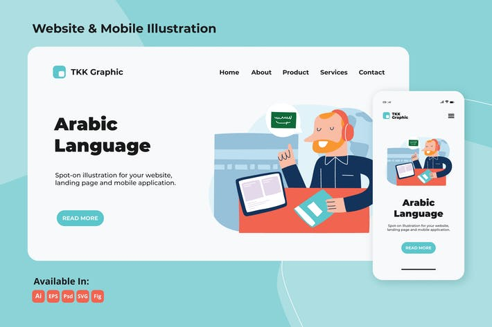 Thumbnail for Foreign language (Arabic) e-learning web & mobile