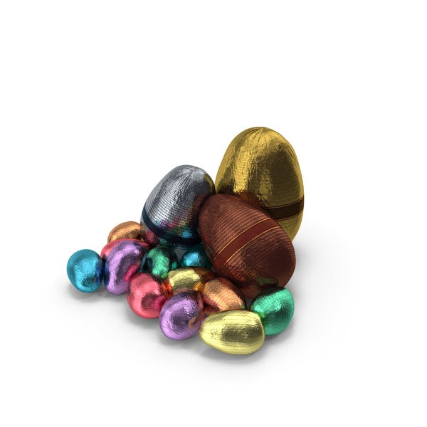 Small Pile of Wrapped Chocolate Easter Eggs