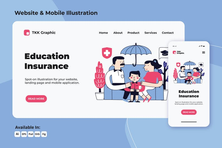 Education insurance doodle web and mobile