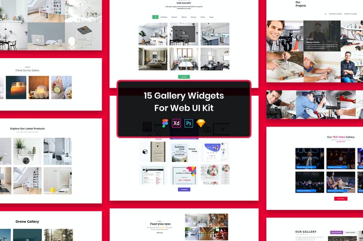 Thumbnail for 15 Gallery Widgets for Web UI Kit