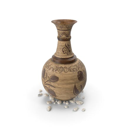 Pot Wooden With Stones