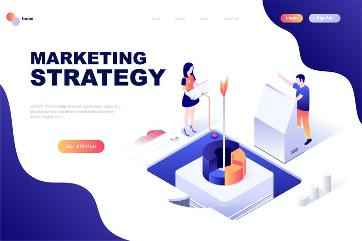 Thumbnail for Digital Marketing Isometric Landing Page Template