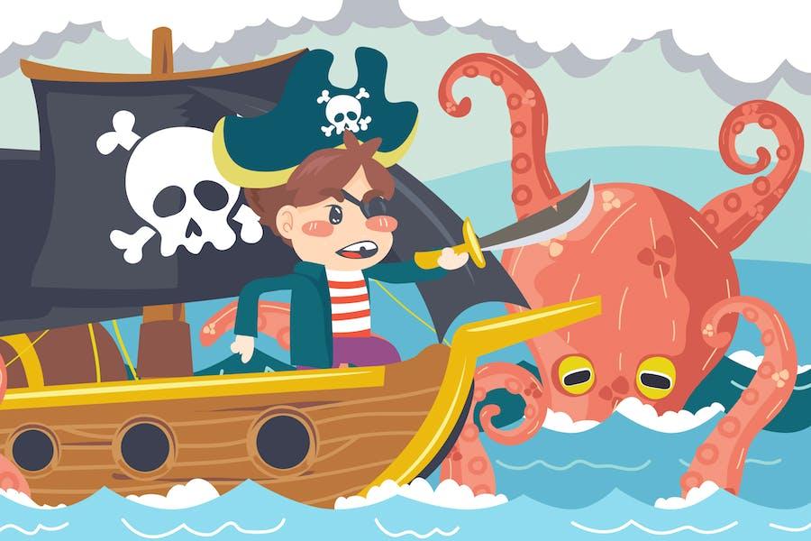 Ship Pirate Kids Illustration