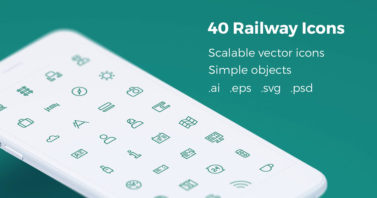 Download Railway Tickets Booking & Trips - Vector Icons by bestwebsoft