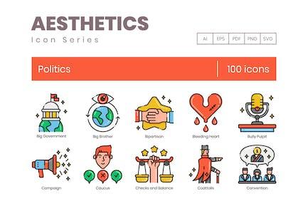 100 Politics Line Icons