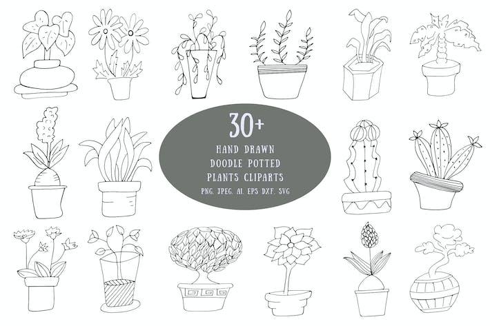 Thumbnail for 30+ Handgezeichnet Doodle Topfpflanzen Cliparts