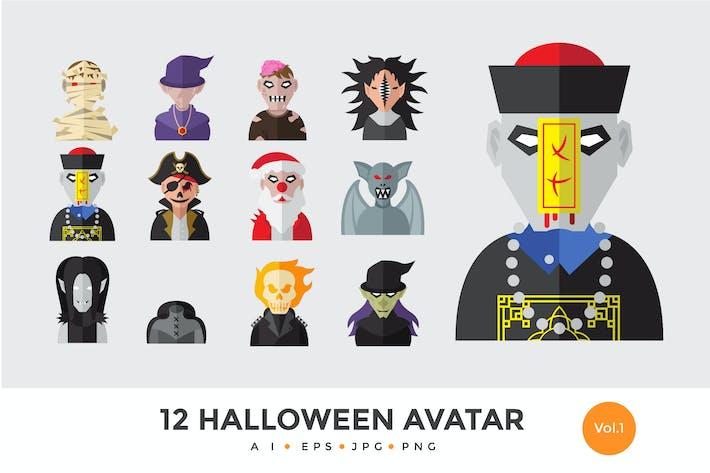 Thumbnail for 12 Halloween Monster Avatar Vector Illustration 1