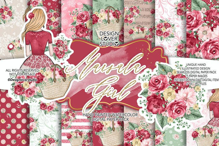 Thumbnail for Marsala Girl digital paper pack