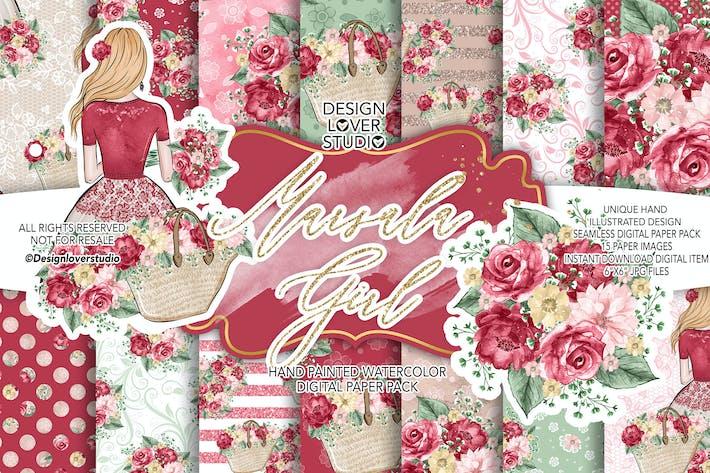 Cover Image For Marsala Girl digital paper pack