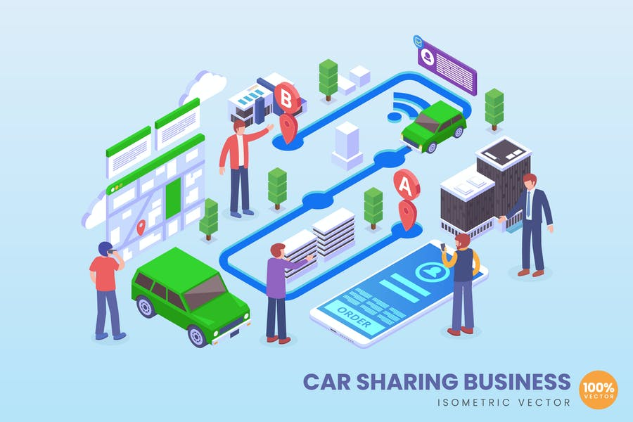 Isometric Car Sharing Application Vector Concept